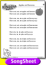 Apples and Bananas song and lyrics from KIDiddles