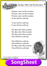 The Bear Went Over the Mountain song and lyrics from KIDiddles
