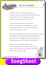 The Cat Came Back The Very Next Day Lyrics