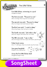 Five Little Fishies Song And Lyrics From Kididdles