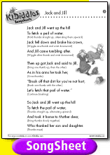 Song Sheet Kids Songs Lyrics