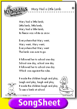 """""""the teacher"""" and """"lamb to the Mary had a little lamb, little lamb, little lamb, mary had a little lamb, its fleece was  white as snow and everywhere that mary went, mary went, mary went."""