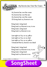 My Bonnie Lies Over the Ocean song and lyrics from KIDiddles