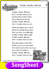 Twinkle Twinkle Little Star Song And Lyrics From Kididdles